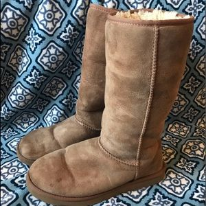 Ugg Boots Size 9 Tan Tall Fur